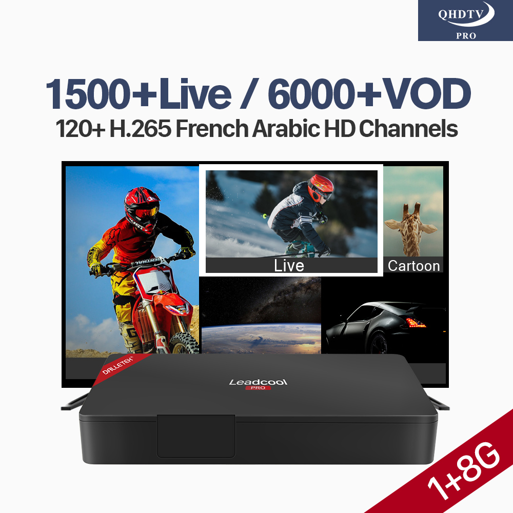 Decoder IPTV Box Leadcool Pro French Android 7.1 RK3229 4K IPTV H.265 WiFi Arabic UK Spain Lebanon Tunisa IPTV Subscription цена