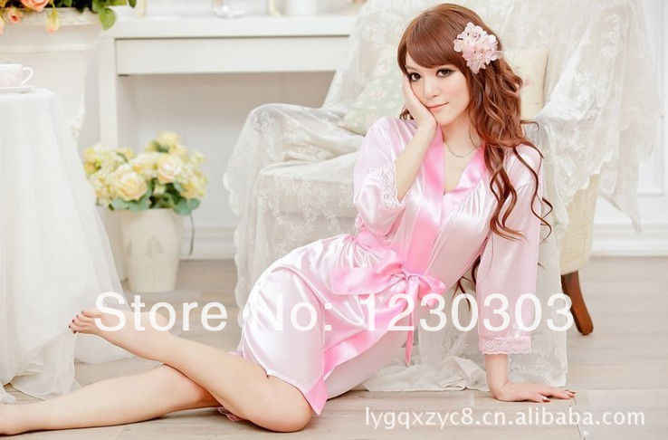 ホットパジャマイブニングドレス家政婦セクシーランジェリーサテンレース黒着物親密なパジャマローブセクシーなナイトガウンバスローブ