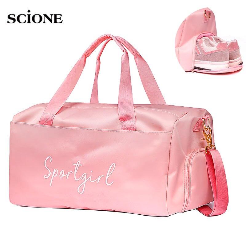 Yoga Fitness Gym bag sac de sport bags Dry Wet Handbags Swimming For Women Shoes Tas Travel Training Waterproof Pink XA536WA