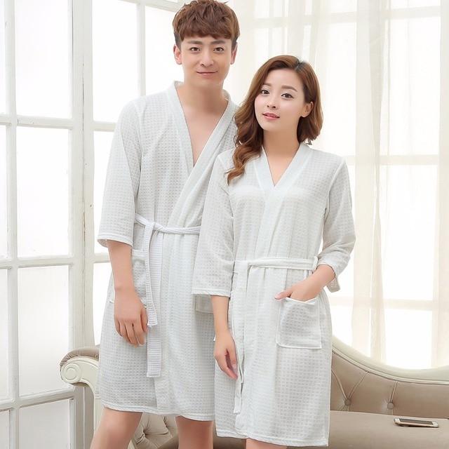 Lovers Kimono Waffle Bath Robe Elegant Bathrobe Women Men Dressing Gown  Bride Wedding Bridesmaid Robes Night 476c010e2