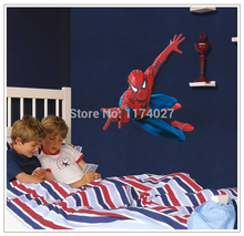 Large Spiderman Wall stickers 3D Art Decals/Removable PVC decals For Boys' Room Decoration 90*110cm Free Shipping