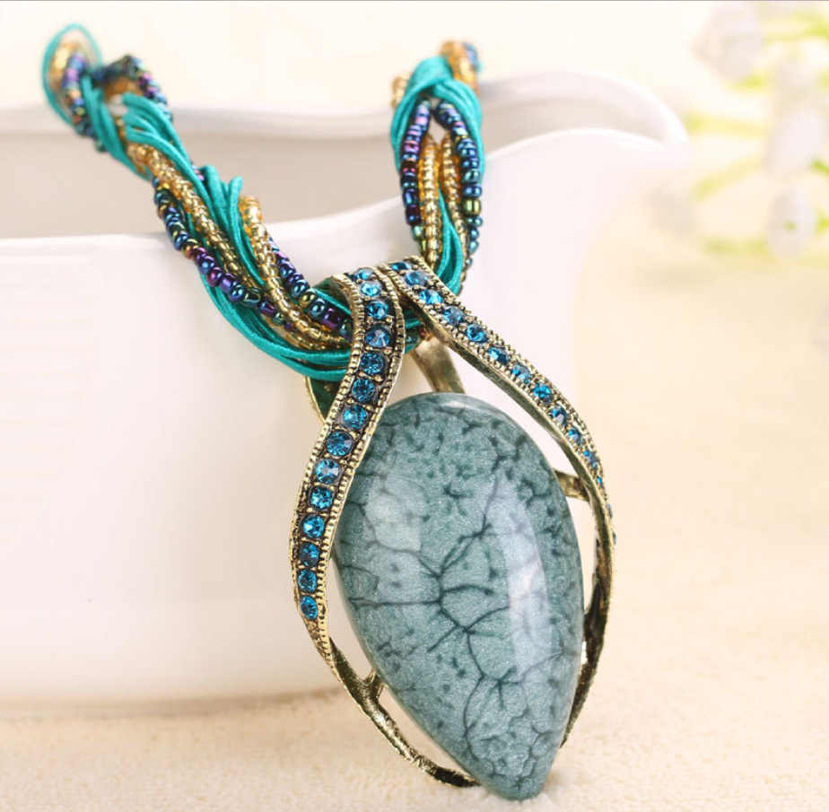 High Quality 2018 New Vintage Retro Bohemia Style green stone Multilayer Beads Chain Crystal Grain Water Drop Pendant Necklace