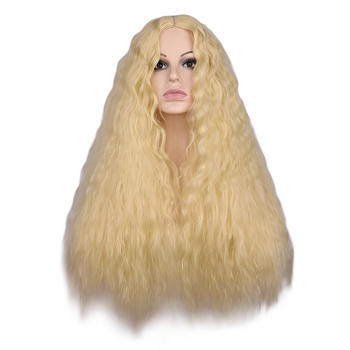 QQXCAIW Women Long Kinky Curly Wigs Blonde Middle Part Heat Resistant Hair Synthetic Wig wignee hand made front ombre color long blonde synthetic wigs for black white women heat resistant middle part cosplay hair wig