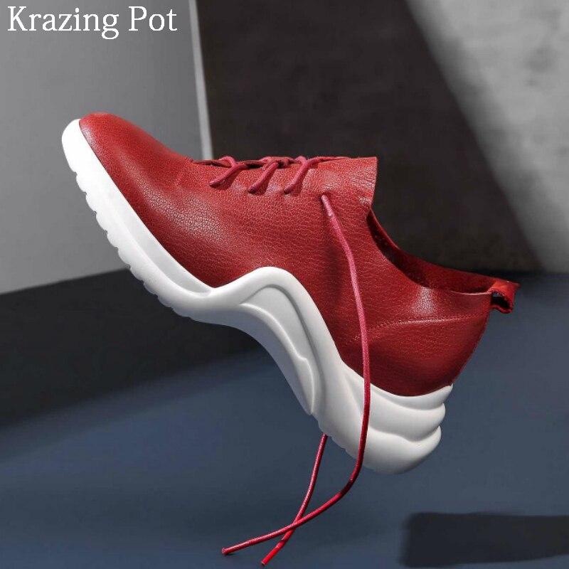 2018 Casual Vulcanisé De Mocassins Chaussures Femmes Plate Grande rouge Épais Superstar Taille L5f1 Bout Cuir Rond Noir Véritable forme Fond Lacent ULSpGqzMV