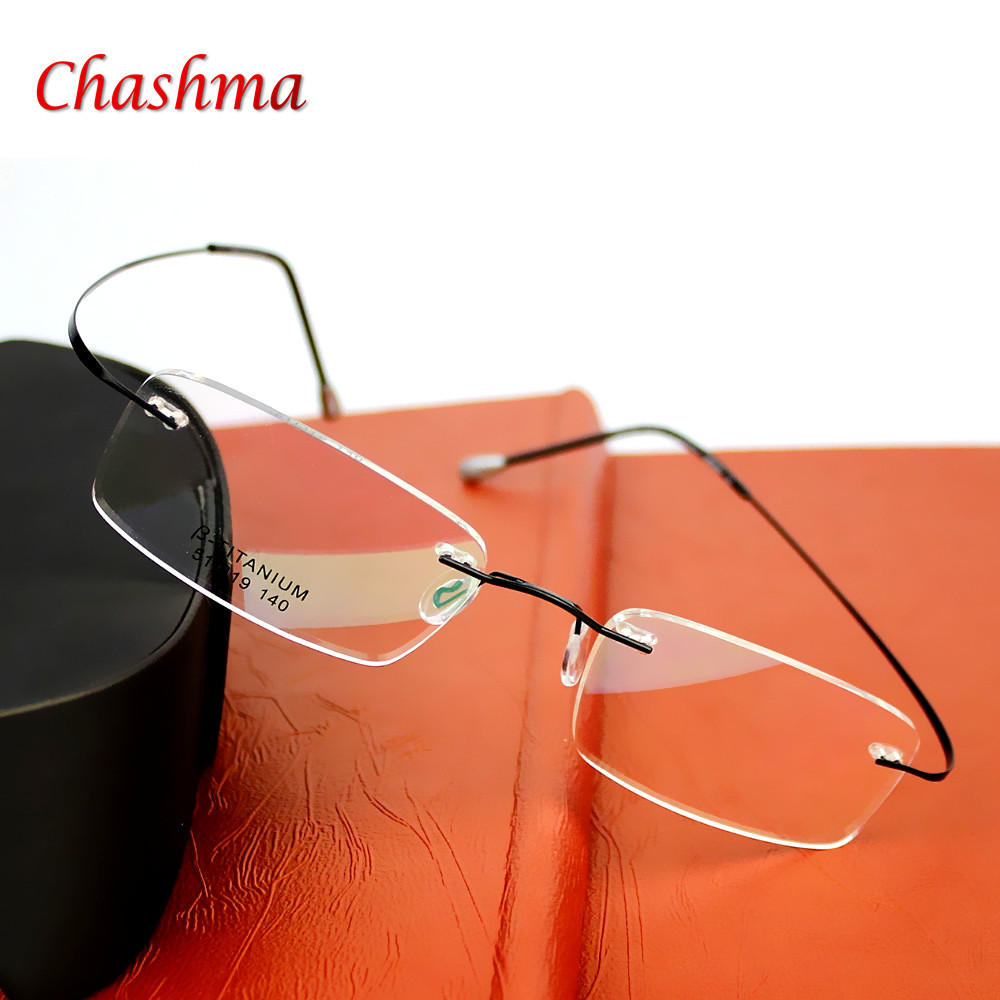2016 Brand Optics Glasögon Titanium Rimless Ultra Light Glasses Frame Glasögon Män Women With Case Oculos de grau