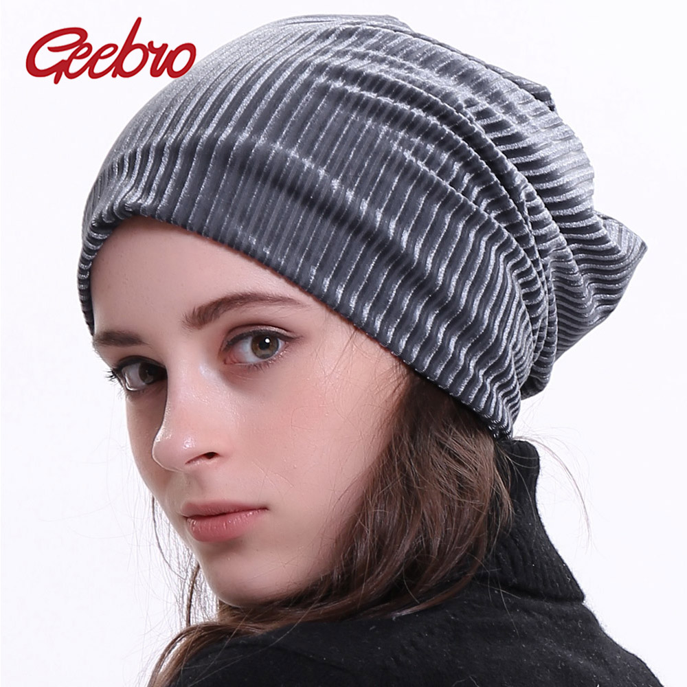Geebro Brand New Women Thick Slouchy Beanie Winter Polyester Ribbed Skullies Beanies for Women Balaclava Bonnet Hat DQ810M