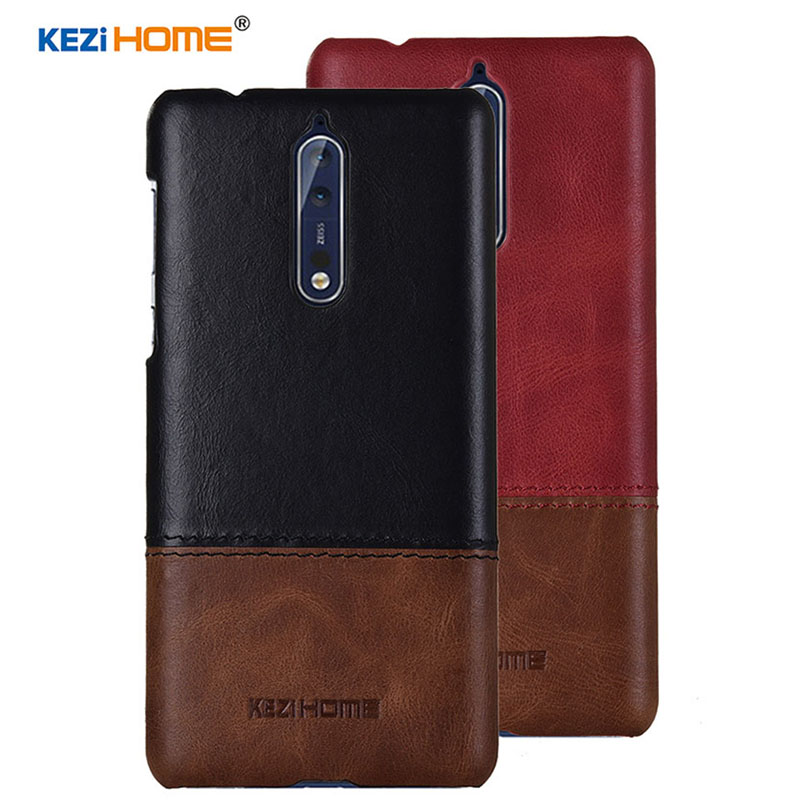 Case for Nokia 8 KEZiHOME Luxury Hit Color Genuine Leather Hard Back Cover capa For Nokia 8 5.3 Phone cases ...