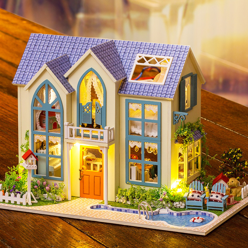 Doll House Diy miniature Wooden Puzzle 3D Dollhouse miniaturas Furniture House Doll For Birthday Gift Toys Romantic Garden 13838