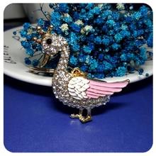 Blingbling Rhinestone Cute Duck/Swan Style Handbag Charm Ornament  Accessory Fantastic 3D Key Chain Gift