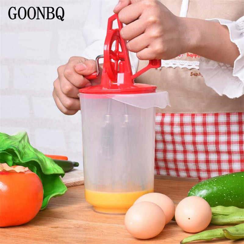 GOONBQ 1 pc Two Heads Egg Beater Plastic+Metal Hand-Cranked Coffee Milk Drink  Whisk Mixer Egg Stiring Tool
