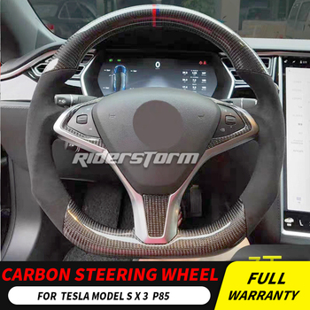 For TESLA Steering Wheel carbon fiber for MODEL S X 3 Carbon Fiber Leather  trims Replace Steering wheel control button airbag