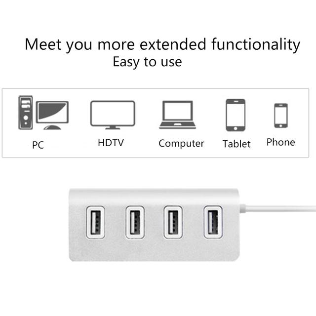 USB HUB 4 Port High Speed USB 2.0 Hub USB Port Portable OTG HUB USB Splitter for Apple Macbook Air Laptop PC Tablet