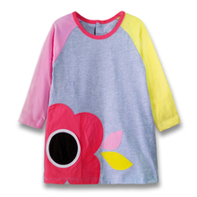 Spring Fall Baby Girls Dress Applique Embroidery Long-Sleeved Dress Cotton Kids Casual Clothes Brand Children Clothing (1-6 yrs)