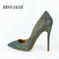 Sexy green Sequined Women Pumps Elegant Bling High Heels Shoes Women Stilettos Glitter Wedding Party Shoes Big Size 4 11