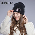 FUTTALK Spring Autumn Hats for Women Wool Cotton Girls Hat Cap Knitted Beanie Hat  Embroidered Caps Real Mink Fur Decoration