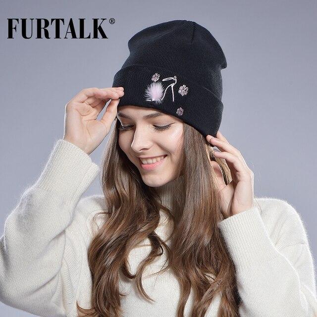 Futtalk двойная весенняя женская шапка вязаная женская украшена из
