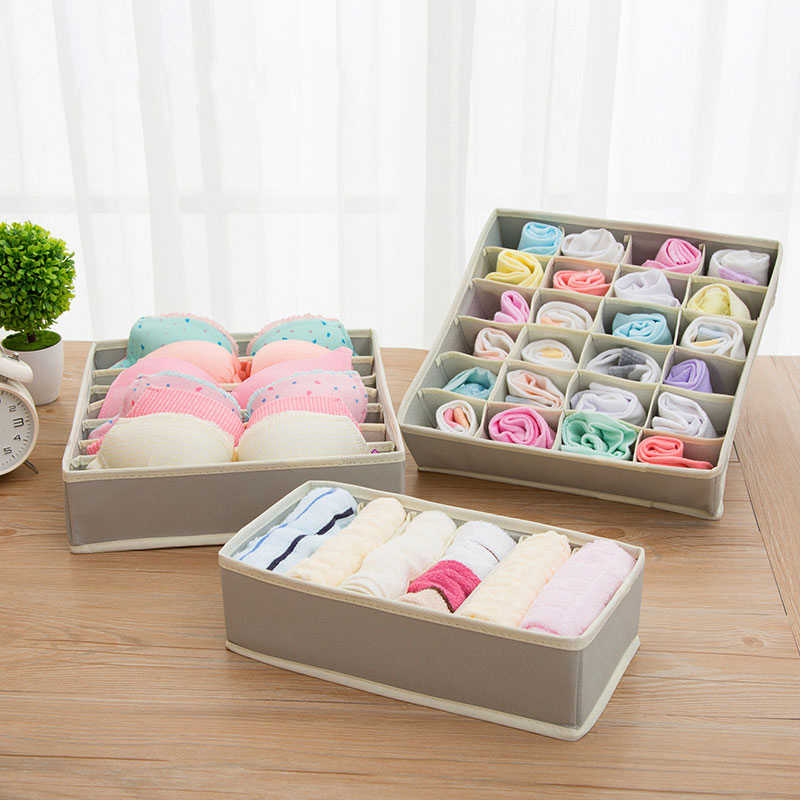 1 Set New Home Storage Non-Woven Collapsible Storage Boxes For Bra Underwear Folding  Closet Organizer Drawer Divider Container