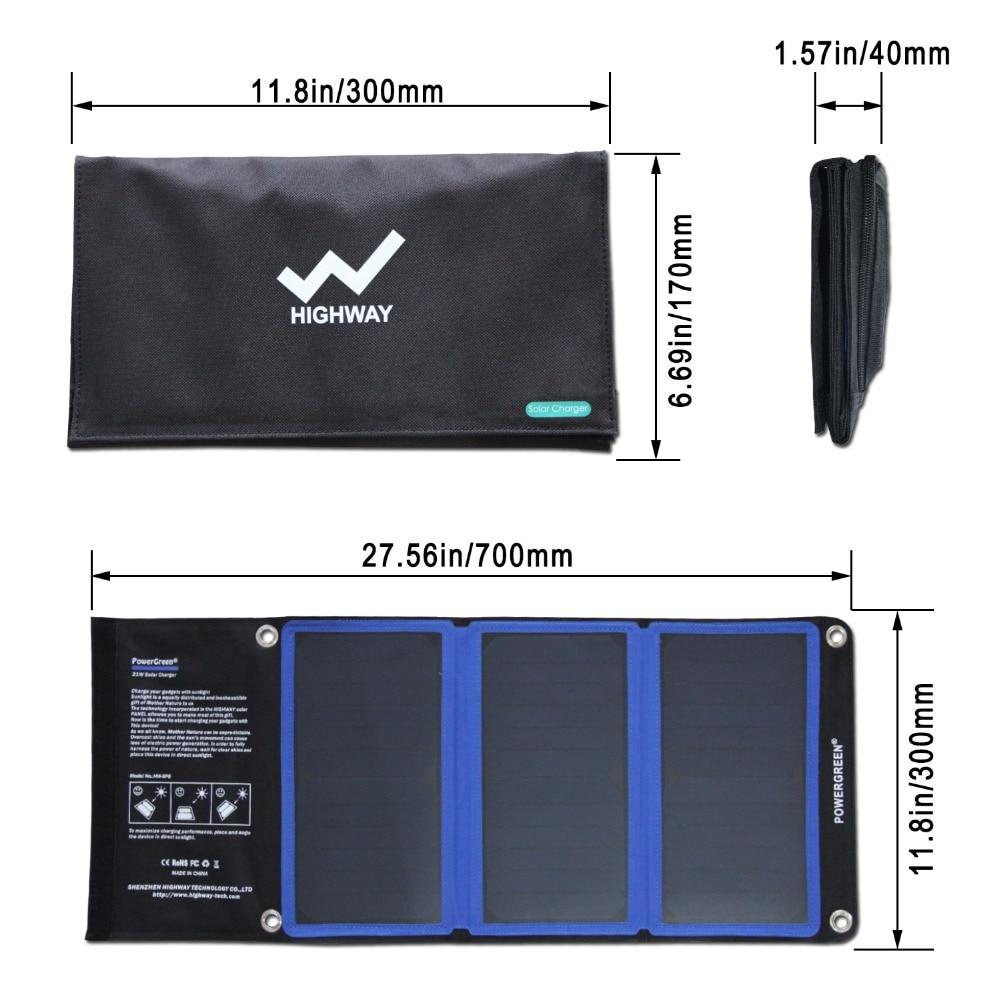 PowerGreen Tunnfällbar solladdare 21 watt extern batteriryggsäck - Reservdelar och tillbehör för mobiltelefoner - Foto 2
