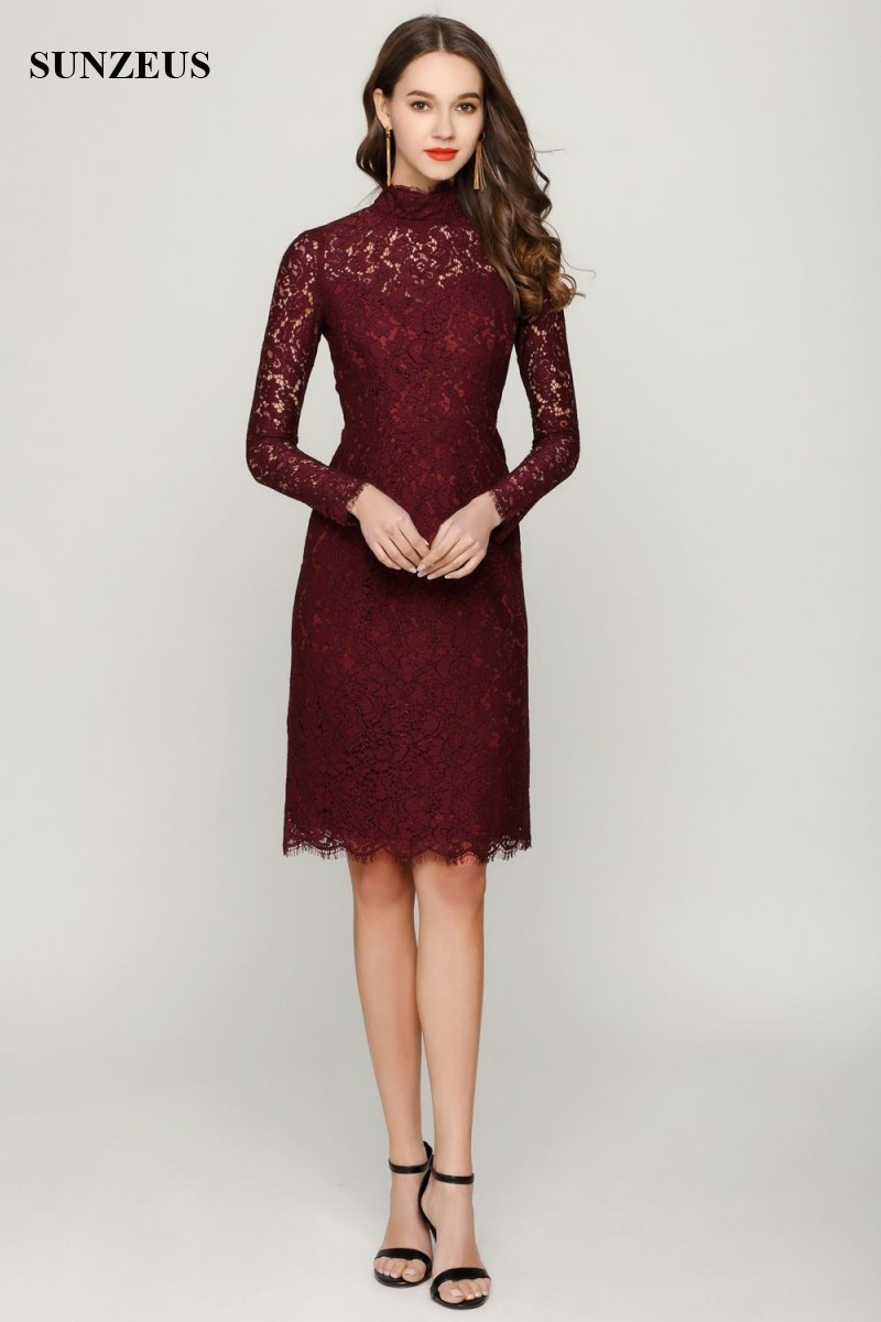 Vintage Burgundy Lace Wedding Mother Dresses Real Long Sleeves High Neck  Knee Length Short Mother Of The Bride Dress CM0117 conew 291 (7) conew1  conew 291 ... 348d9613d7b2