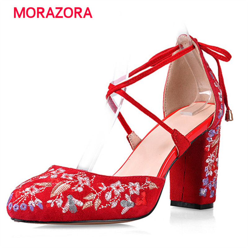 MORAZORA China's wind kid suede high heels shoes woman sandals lace-up party wedding shoes embroidery big size 34-42 fashion zokol bearing 6017 2rs 180117 deep groove ball bearing 85 130 22mm