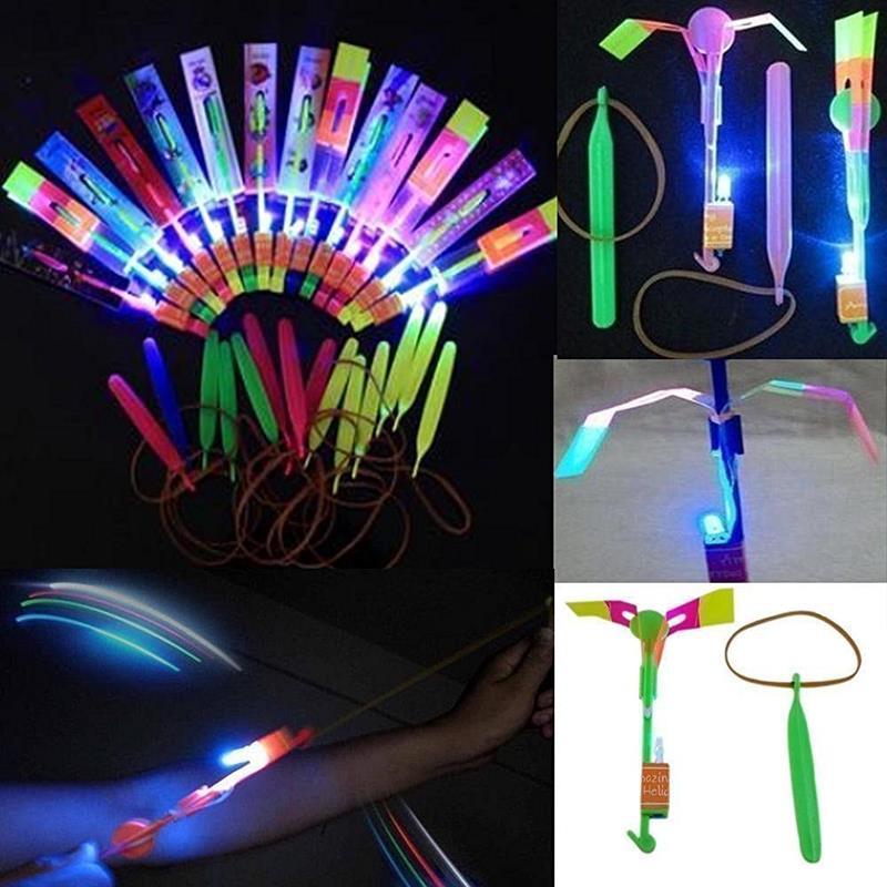 48 Pcs Amazing LED Helicopter Light Arrow Rocket Rotating Flying Toys LED Light Flash Baby Kids Party Fun Gift Xmas Outdoor Toy
