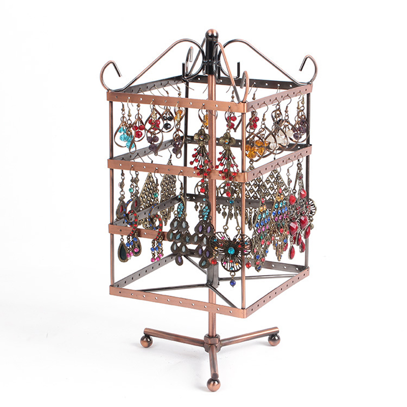 160 Holds Jewellery Display Stands Rotating Metal Earring Display Stand Earrings Display Brown Jewellery Organizer Holder