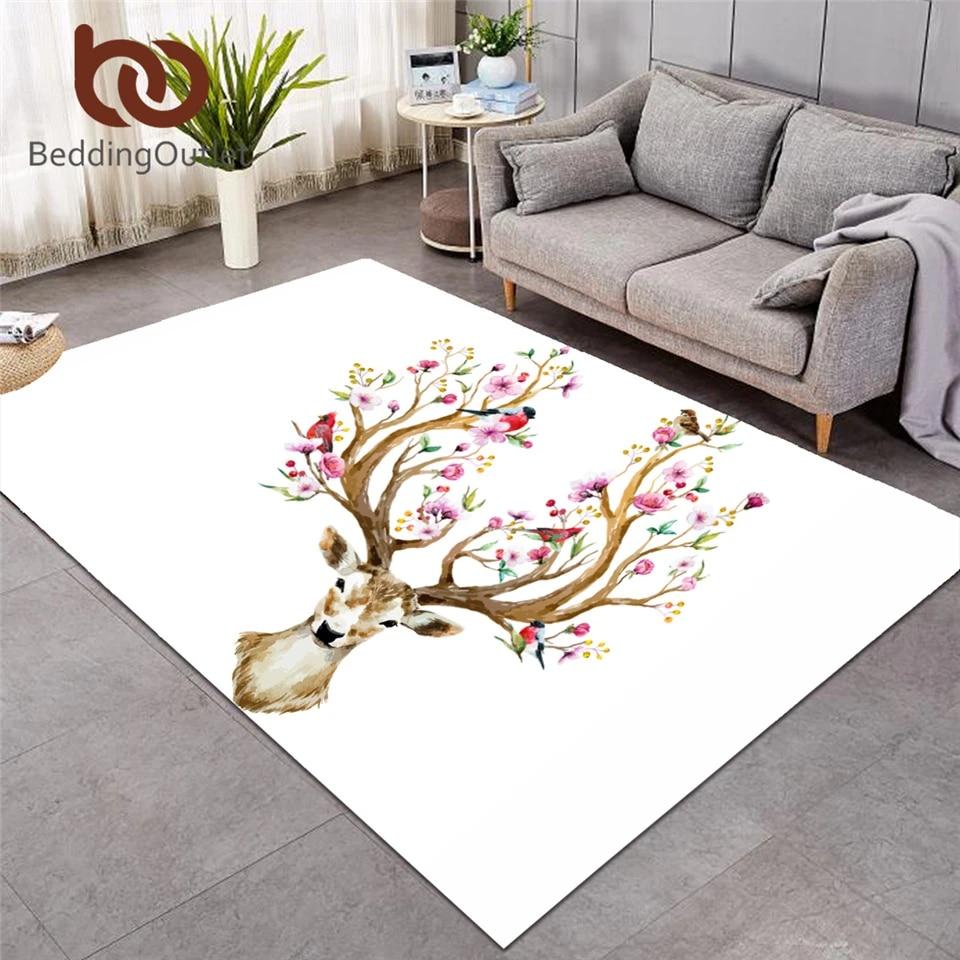 beddingoutlet grand tapis fleuri tapis de sol antiderapant pour chambre a coucher tapis de sol pour orignal renne elk cerf tapis noir et blanc