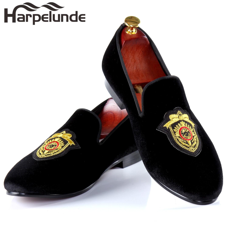 Harpelunde Men Dress Wedding Shoes Handmade Black Velvet Flat Loafers Size 6-14 harpelunde animal buckle men dress loafers printed velvet flat shoes with copper cap toe size 6 to 14