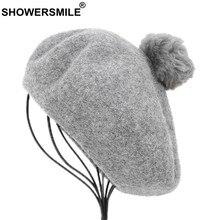 SHOWERSMILE francés boinas sombreros de lana gris pintores sombrero las mujeres  pompón elegante caliente sombrero boina 281c5524e15