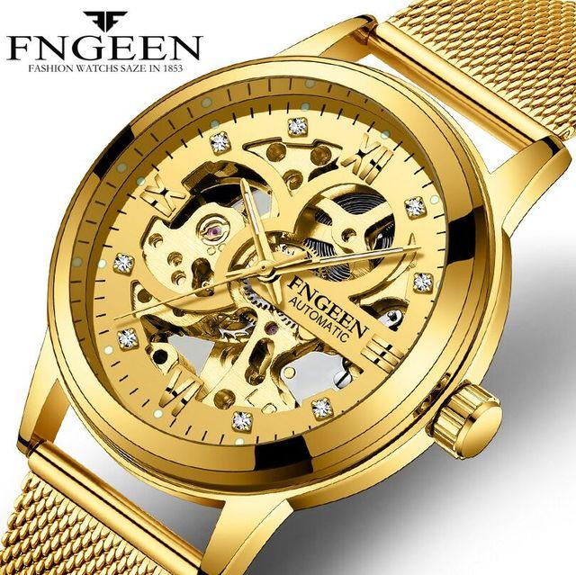 bc642441c8ce FNGEEN automático correa de malla de oro de los hombres relojes mecánicos  impermeable diamante luminoso doble