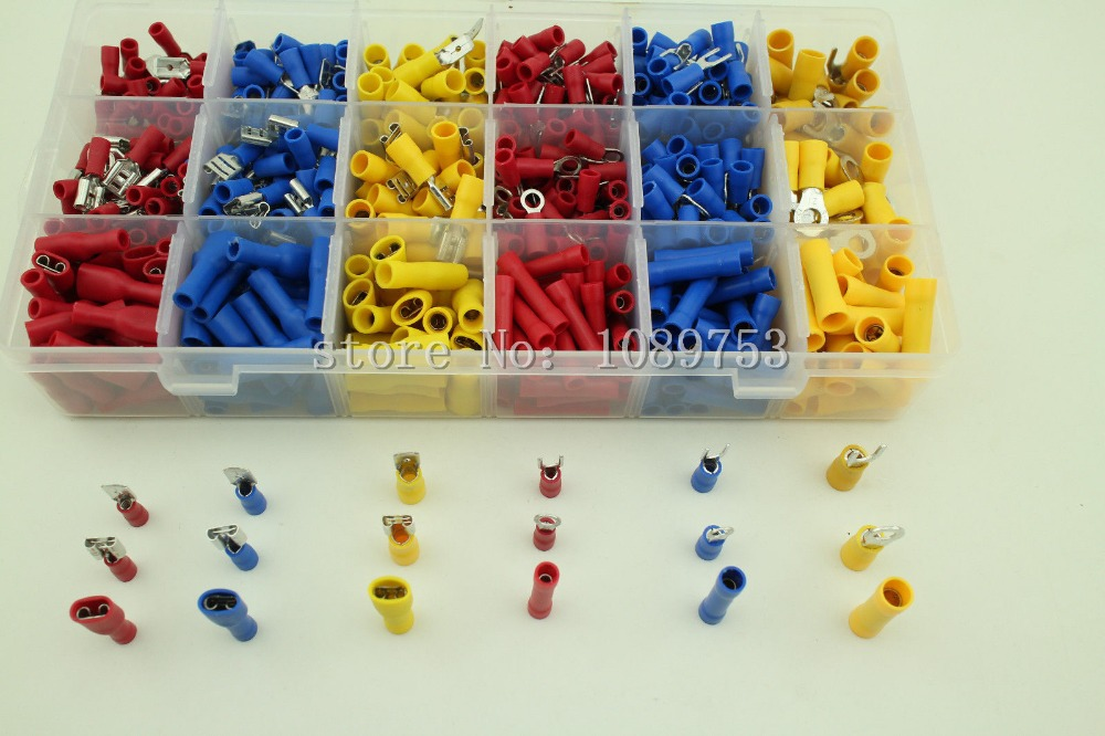 710PCS Insulated Spade Ring Fork Butt Crimp Terminals Connector Assortment Kit