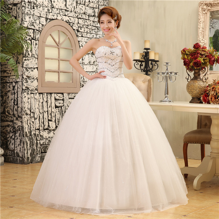 2015 Vestidos De Noiva White Strapless Romantic Wedding