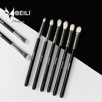 BEILI 8pcs Classic Black Goat And Synthetic Hair Eyeshadow Brow Blending Smoky Makeup Brush Set