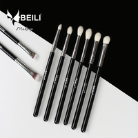 BEILI 8pcs Classic Black Goat And Synthetic Hair Eyeshadow Brow Blending Smoky Makeup Brush Set