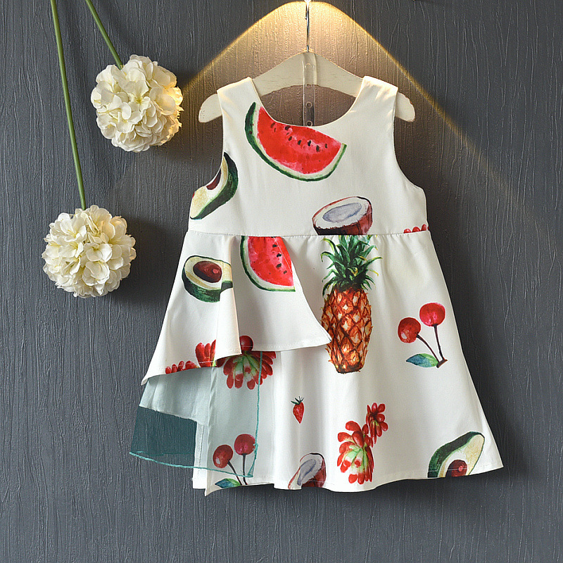 0c34d5ad8f3e 2018 summer wear new girl fruit watermelon colour printed sleeveless dress  vest children's dress
