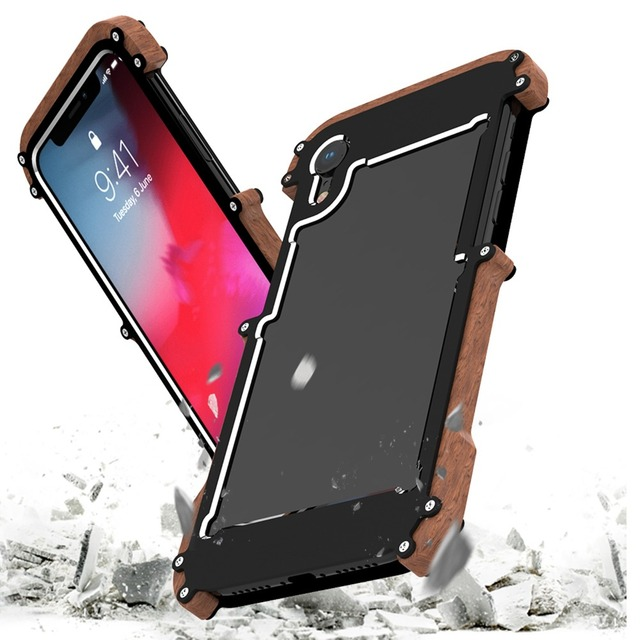 new concept 2ad6c 7b317 US $14.43 25% OFF|Shockproof Armor Wood Grain aluminum alloy bumper frame  Protective Case Cover for iPhone XS XR MAX back Cover shell Sleeve -in  Phone ...