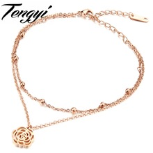 TENGYI Vintage Charm Flower Pendants Rose Gold Color Stainless Steel Anklet Double Lay Foot Wear High Quality Foot Jewelry TY018