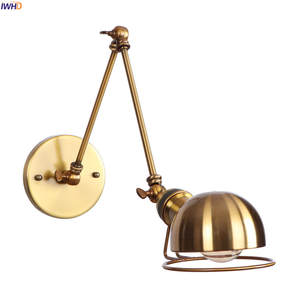 IWHD Loft Style Swing Long Arm Retro Wall Lights Fixtures Home Lighting Wandlamp Edison Vintage Wall Lamp Sconce LED Stair Light