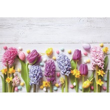 Laeacco Happy Easter Day Colorful Eggs Wooden Boards Wall Scenic Photographic Backgrounds Photography Backdrops For Photo Studio