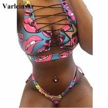 New African Sexy Lace Up Thong Bikini 2019 Female Swimsuit Women Swimwear Two-pieces Bikini set Bather Bathing Suit Swim V524