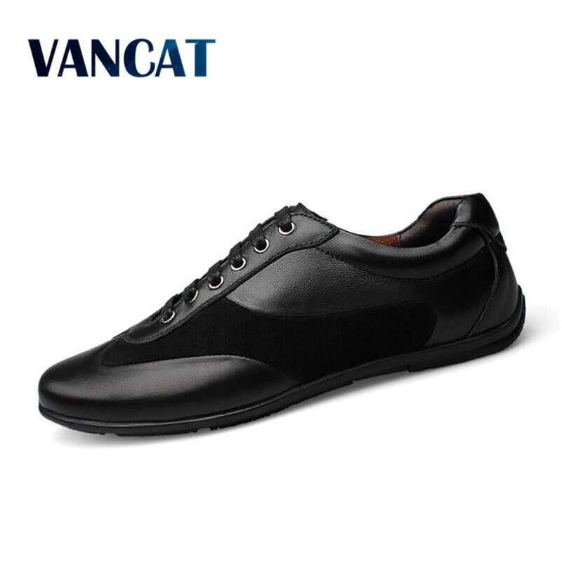 VANCAT High Quality Autumn Winter Genuine Leather Men Shoes Fashion Shoes Men Casual Shoes Lace Up Flats Zapatos Hombre Sapatos high quality men casual shoes fashion lace up air mesh shoe men s 2017 autumn design breathable lightweight walking shoes e62