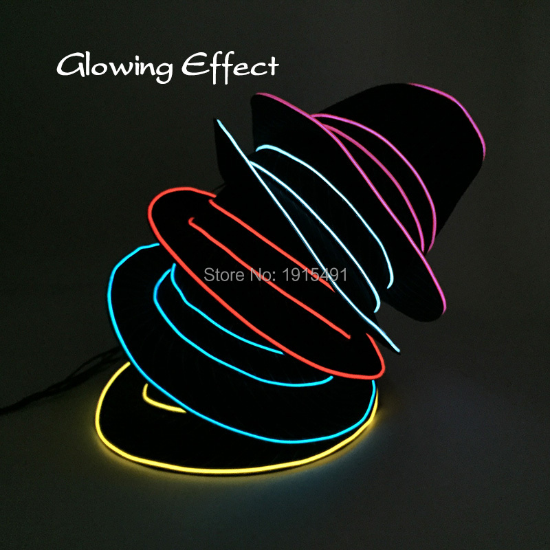 Elegant Classic EL Wire Stage Design Magic Hat Neon Led Bulbs Attractive Led Thread Cold Light Stripe Top Hat for Wedding Party new arrival colorful neon led bulbs melbourne shuffle dance costume night lamp el wire bright ghost step suit for concert party