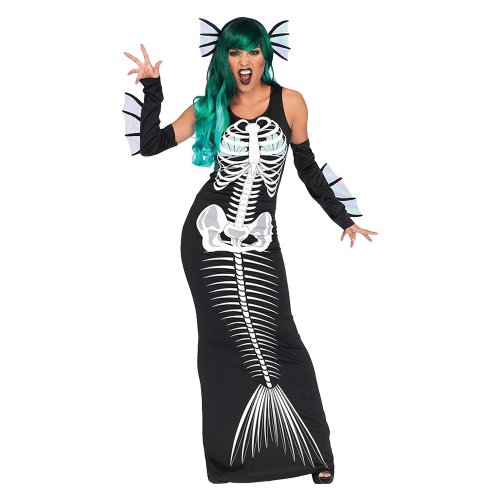 Halloween Performance Stage Costume Women Evil Mermaid Bone Printed Dress Strapless Slim Dress for Carnival Party Show