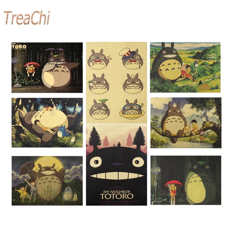 Famous Hayao Miyazaki Anime Movie Kraft Paper Poster Wall Stickers