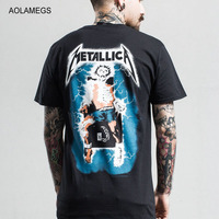 Aolamegs T Shirt Men Lightning Skull Printed Mens Short Sleeve T Shirt Heavy Metal T Shirts