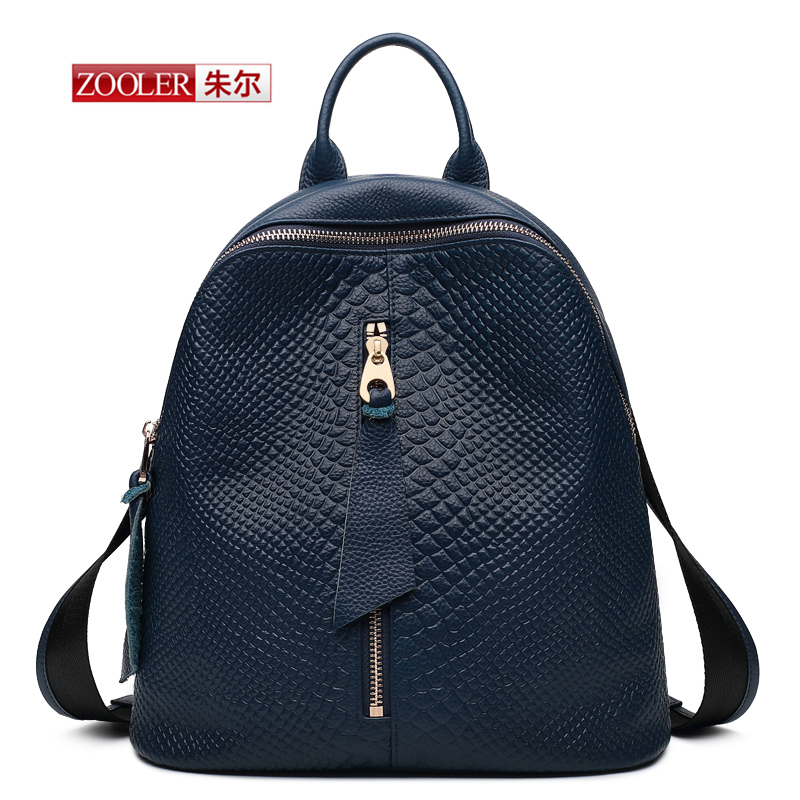 ФОТО ZOOLER  European style Women Crocodile pattern  Backpack 2017 Ladies Famous Women Genuine Leather Preppy Style packpack #YL-3903