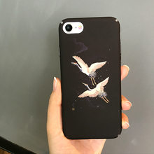 Fashion Japanese Crane Bird Phone Case For iPhone 6 6 Puls 6S 7 8 Puls X XS Max XR Cases Black Hard Plastic Glossy Back Cover(China)
