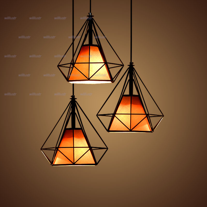 Willlustr diamond shape lamp wrought iron pendant light Dinning Room Bar Cafe Restaurant metal frame fabric Suspension lighting wrought iron nordic home modern pendant lamp with led bulbs home decoration lighting dinning room light cafe bar lamp