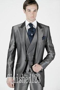 New Design One Button Grey Groom Tuxedos Groomsmen Men's Wedding Prom Suits Custom Made (Jacket+Pants+Vest+Tie) K:31