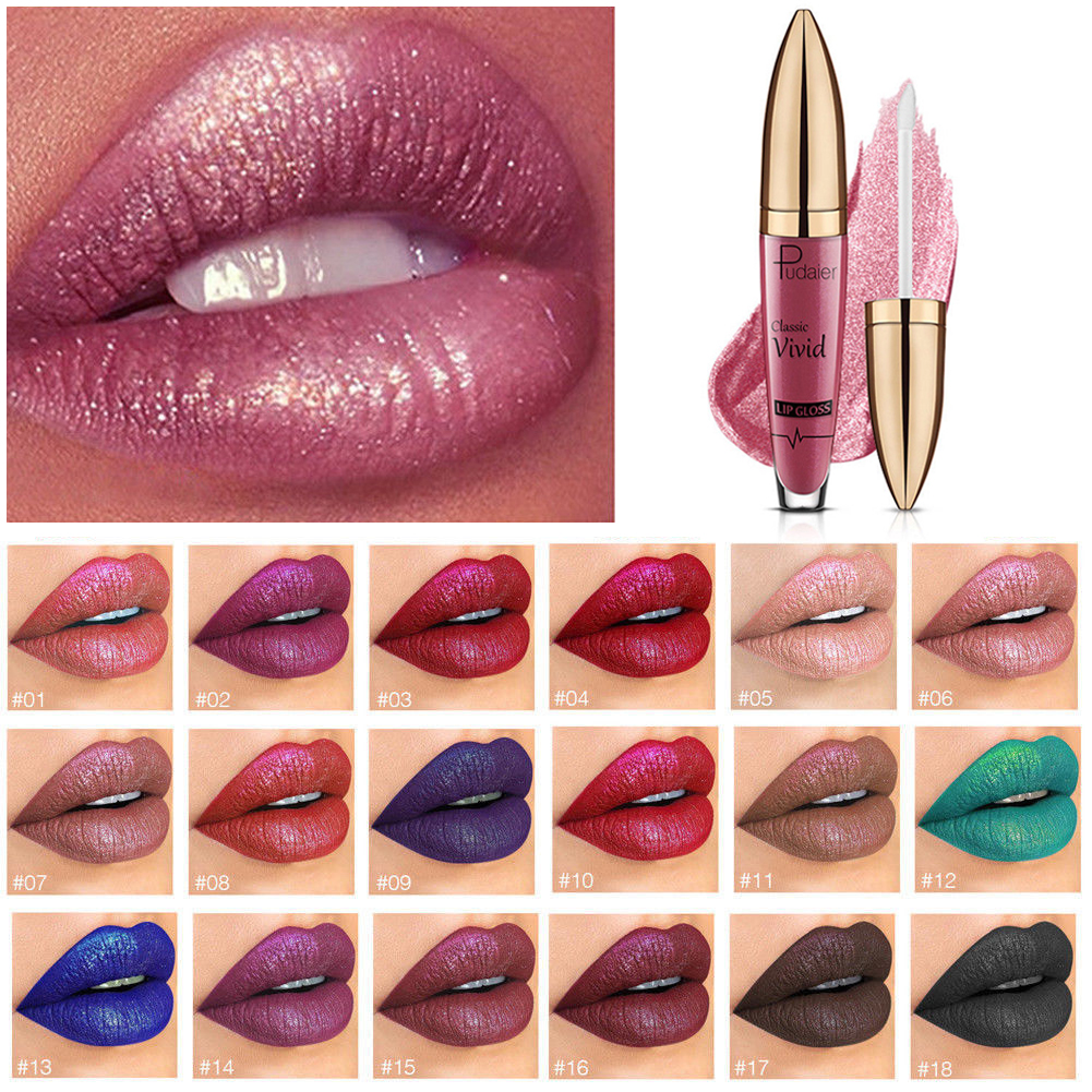 TZ Lip Gloss Metallic Glitter Shimmer Lipstick Waterproof